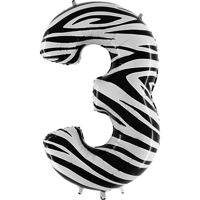 Balon Folie Cifra 3 Zebra, 102 cm [0]