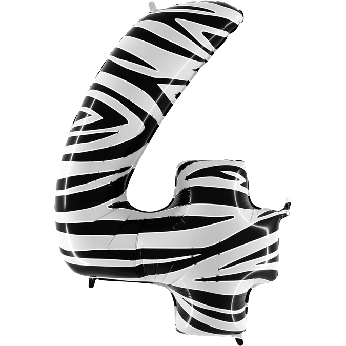 Balon Folie Cifra 4 Zebra, 102 cm [0]