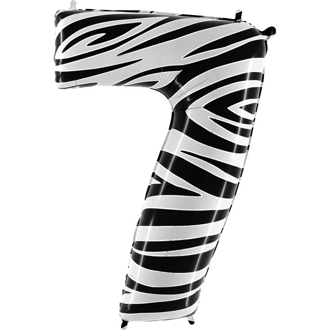 Balon Folie Cifra 7 Zebra, 102 cm 0