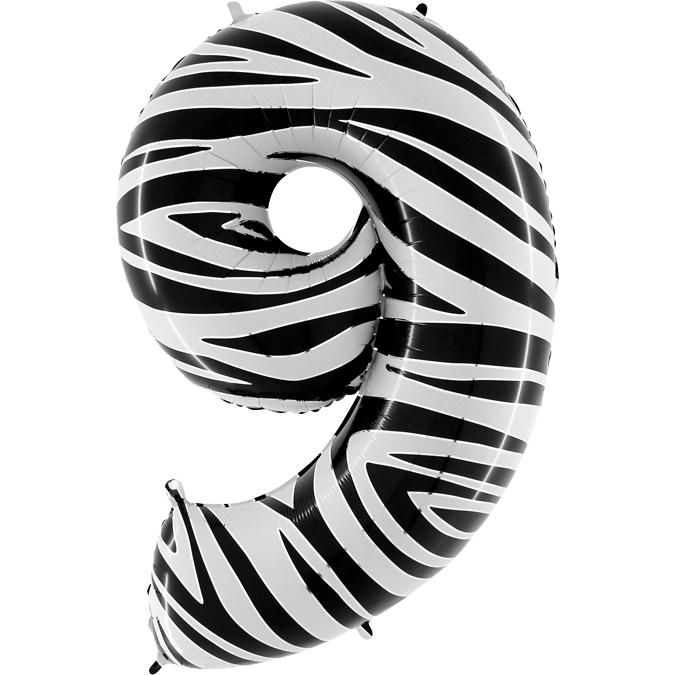 Balon Folie Cifra 9 Zebra, 102 cm 0