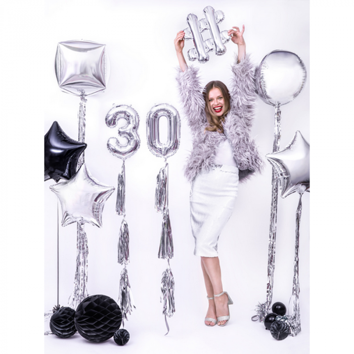 Balon Folie Cifra 0 Argintiu, 35 cm [2]
