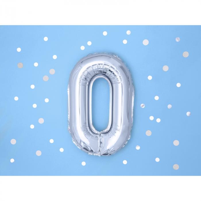 Balon Folie Cifra 0 Argintiu, 35 cm 1
