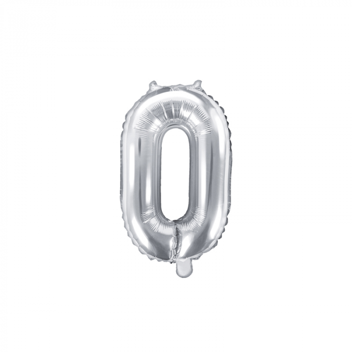 Balon Folie Cifra 0 Argintiu, 35 cm 0