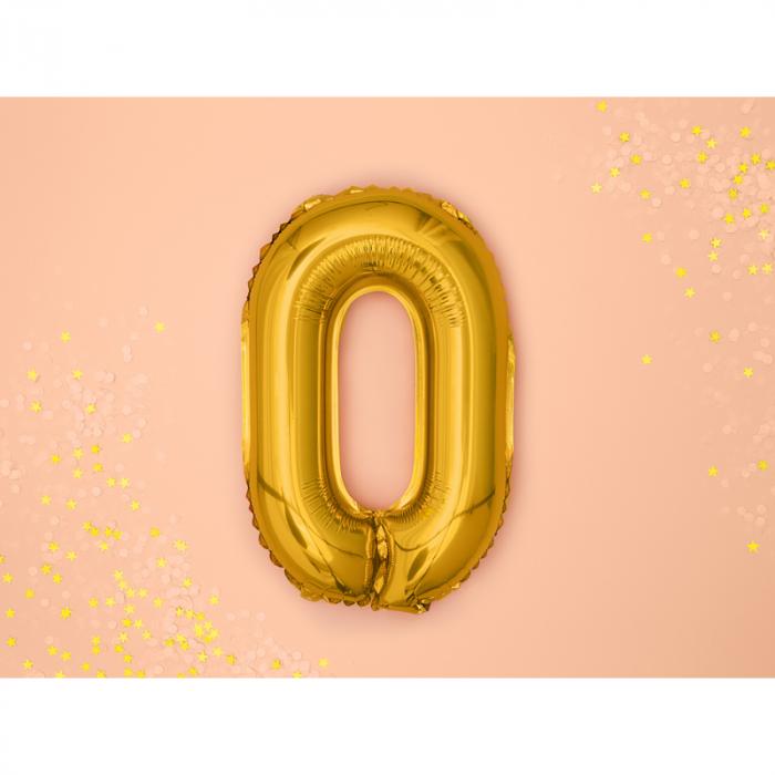 Balon Folie Cifra 0 Auriu, 35 cm 1