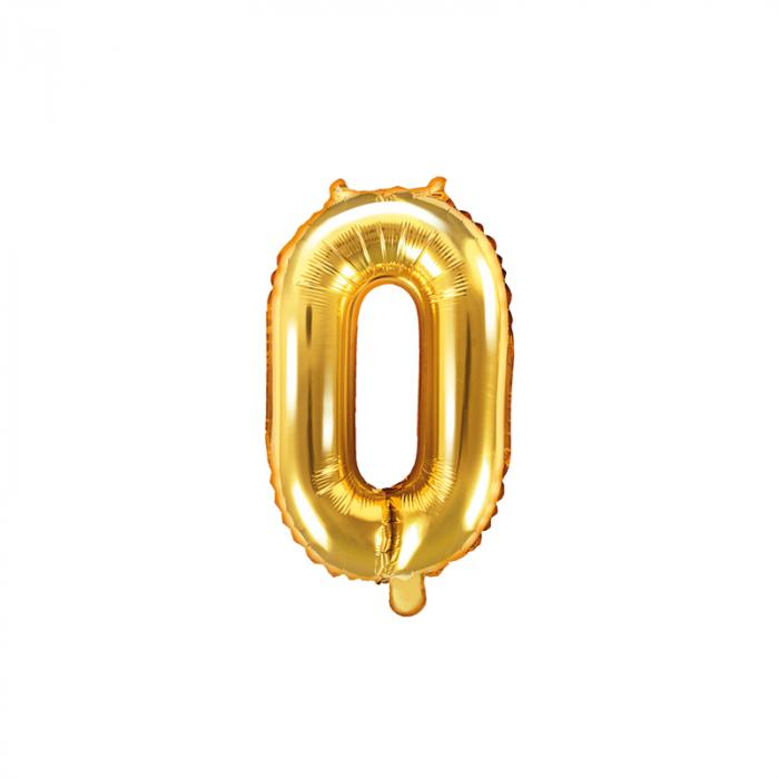 Balon Folie Cifra 0 Auriu, 35 cm 0