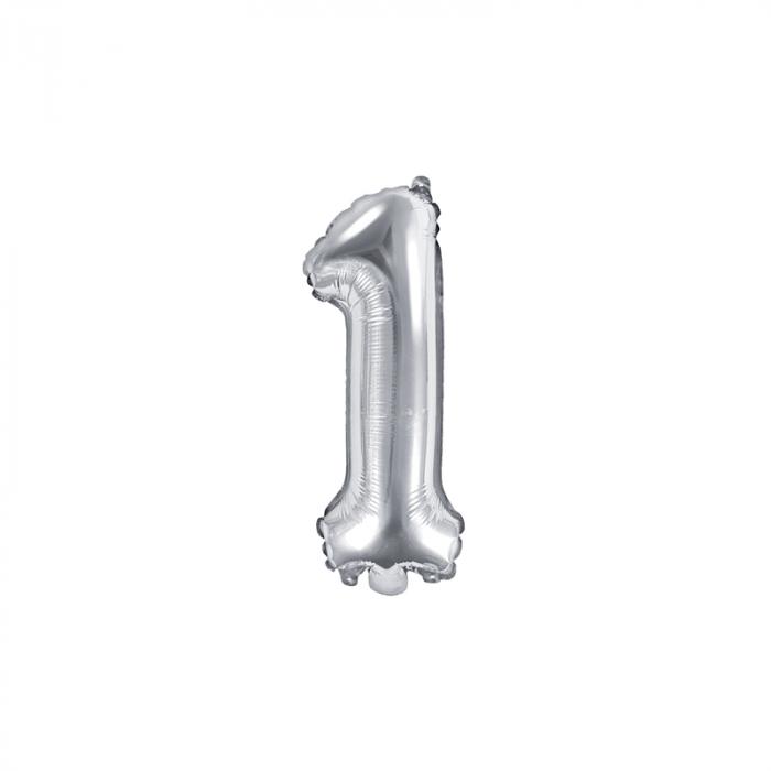 Balon Folie Cifra 1 Argintiu, 35 cm 0