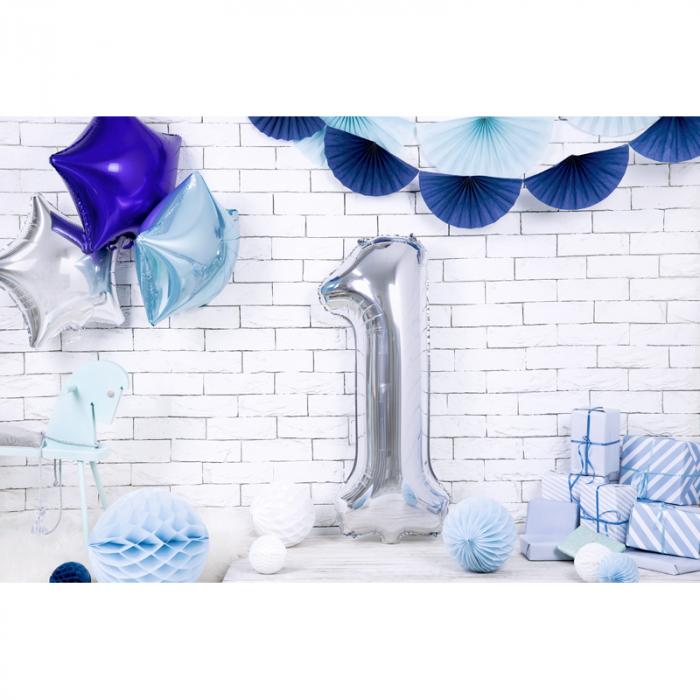 Balon Folie Cifra 1 Argintiu, 86 cm 2