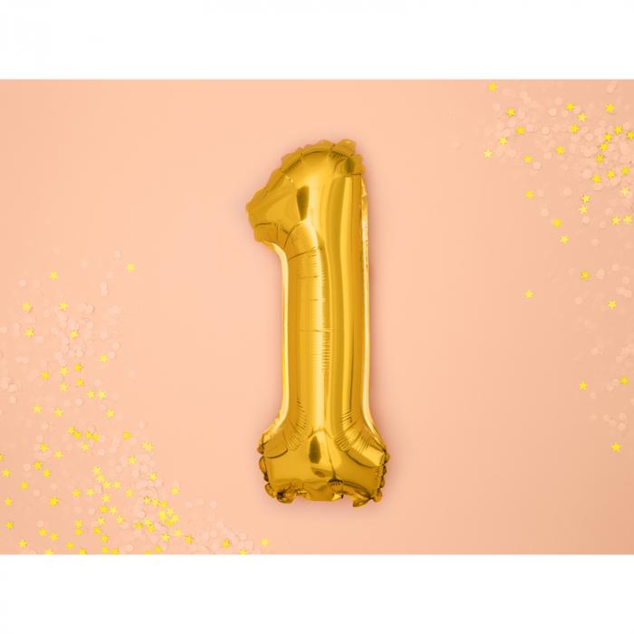 Balon Folie Cifra 1 Auriu, 35 cm [1]