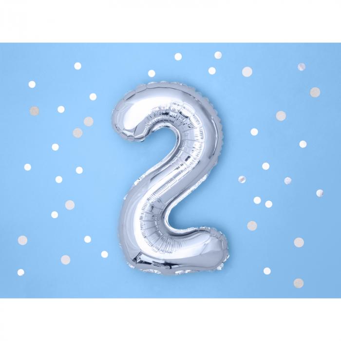 Balon Folie Cifra 2 Argintiu, 35 cm 1