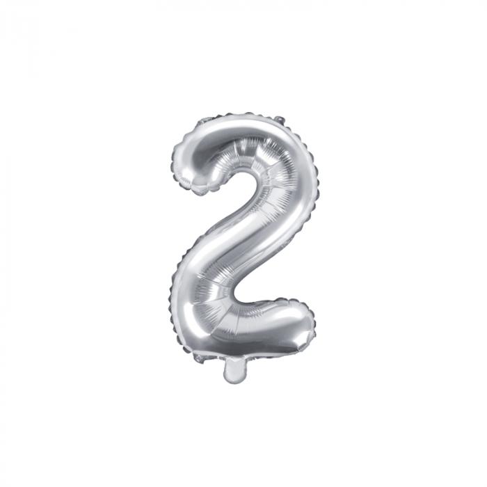Balon Folie Cifra 2 Argintiu, 35 cm 0