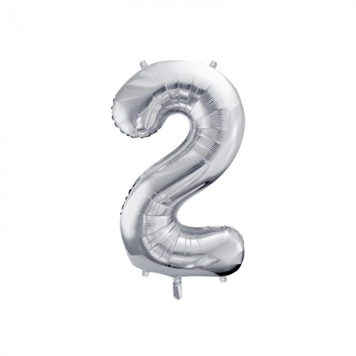 Balon Folie Cifra 2 Argintiu, 86 cm [0]