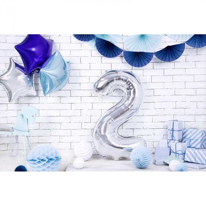 Balon Folie Cifra 2 Argintiu, 86 cm [2]