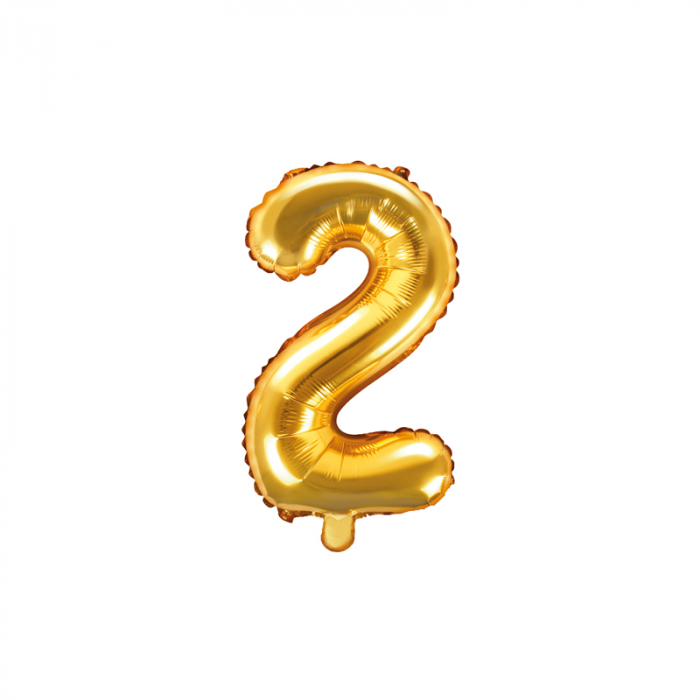 Balon Folie Cifra 2 Auriu, 35 cm 0