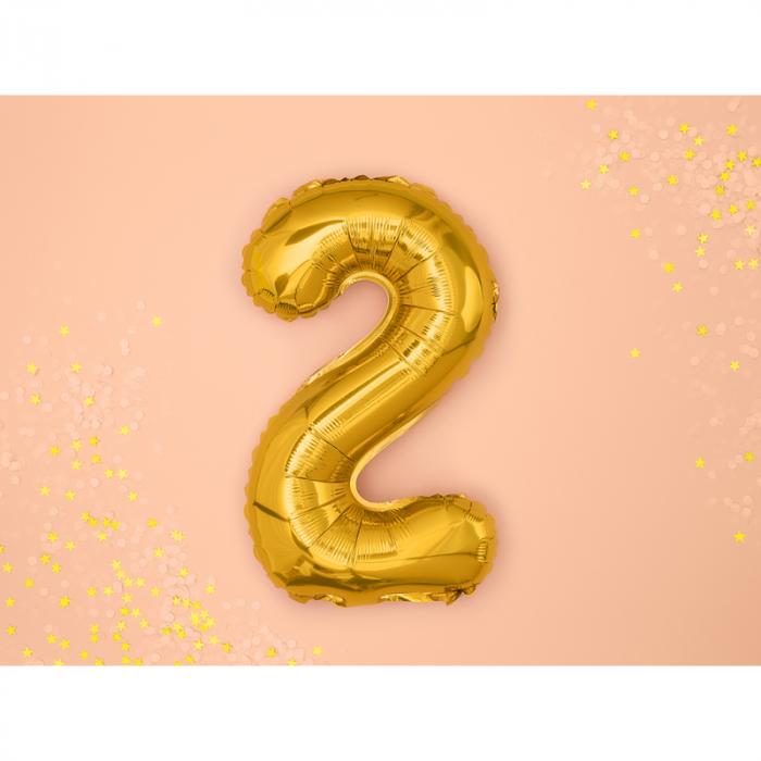 Balon Folie Cifra 2 Auriu, 35 cm [1]