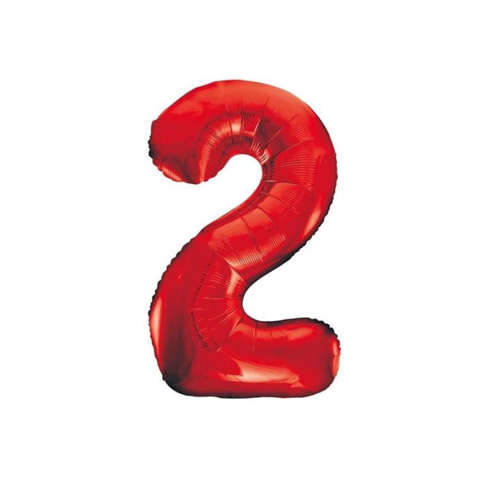 Balon Folie Cifra 2 Rosu, 86 cm [0]