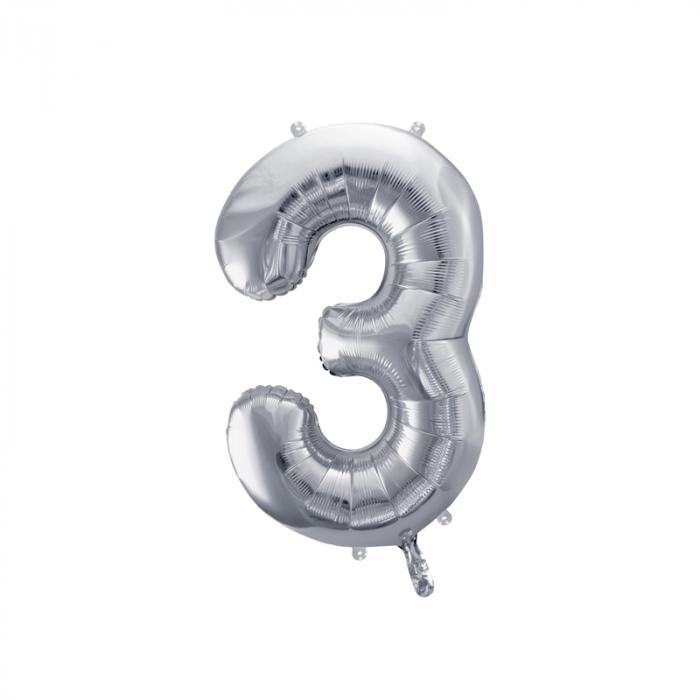 Balon Folie Cifra 3 Argintiu, 86 cm 0