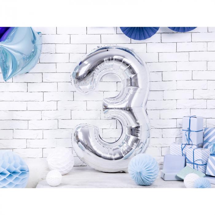 Balon Folie Cifra 3 Argintiu, 86 cm 1