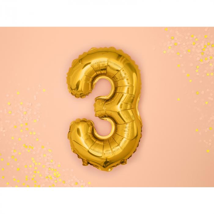 Balon Folie Cifra 3 Auriu, 35 cm 1