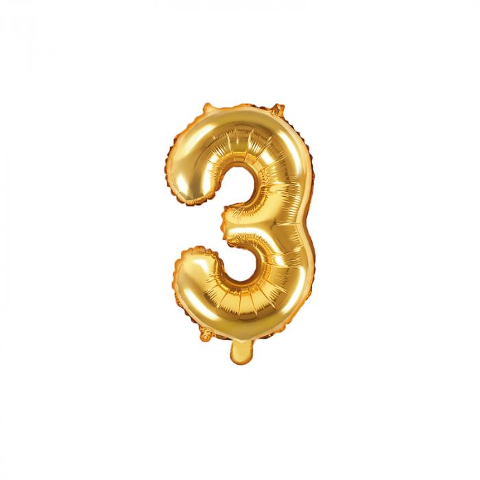 Balon Folie Cifra 3 Auriu, 35 cm 0