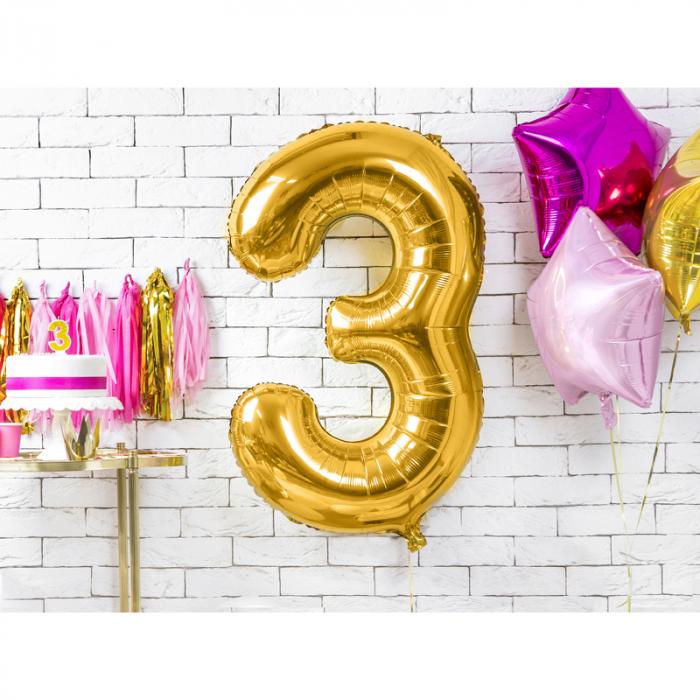 Balon Folie Cifra 3 Auriu, 86 cm 1