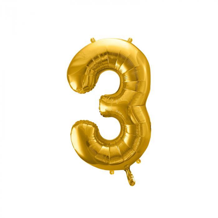 Balon Folie Cifra 3 Auriu, 86 cm [0]