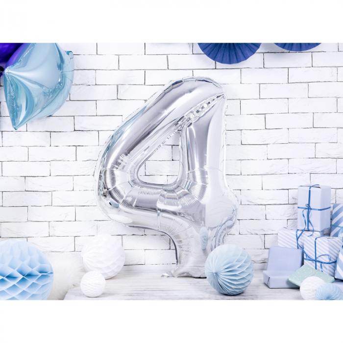Balon Folie Cifra 4 Argintiu, 86 cm 1