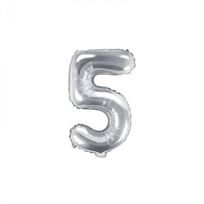 Balon Folie Cifra 5 Argintiu, 35 cm [0]