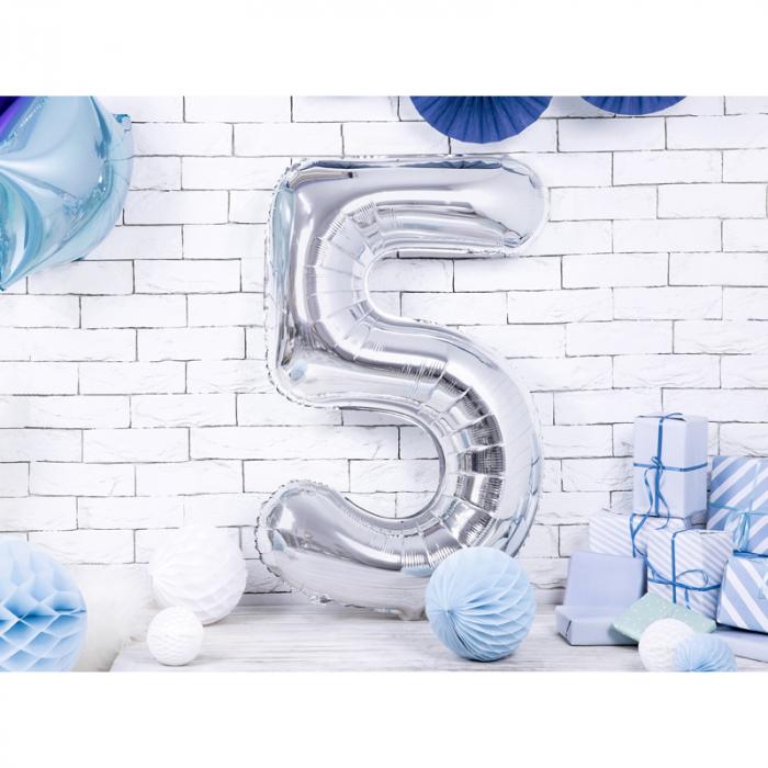 Balon Folie Cifra 5 Argintiu, 86 cm 1