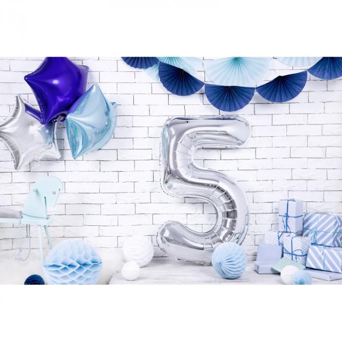 Balon Folie Cifra 5 Argintiu, 86 cm 2