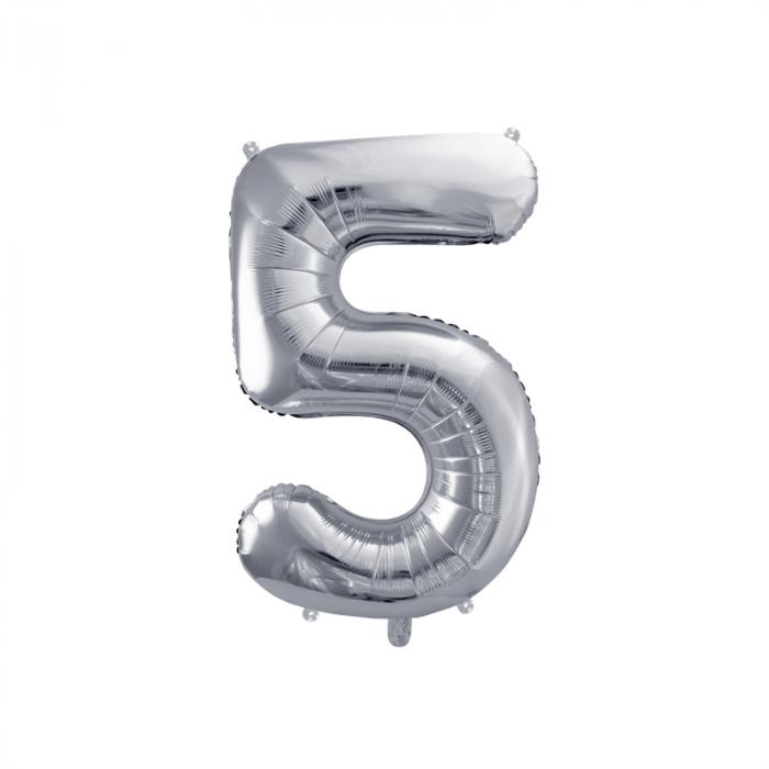 Balon Folie Cifra 5 Argintiu, 86 cm 0