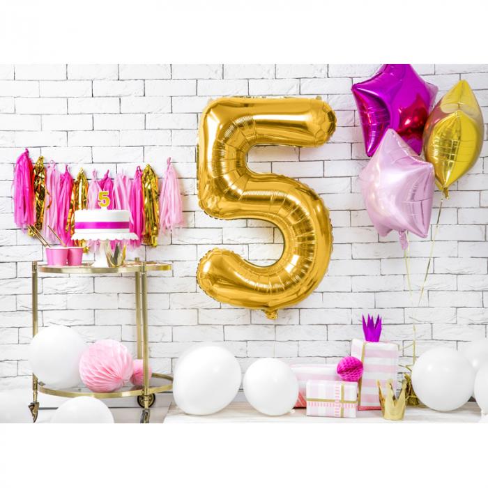 Balon Folie Cifra 5 Auriu, 86 cm 2