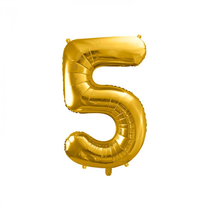 Balon Folie Cifra 5 Auriu, 86 cm [0]