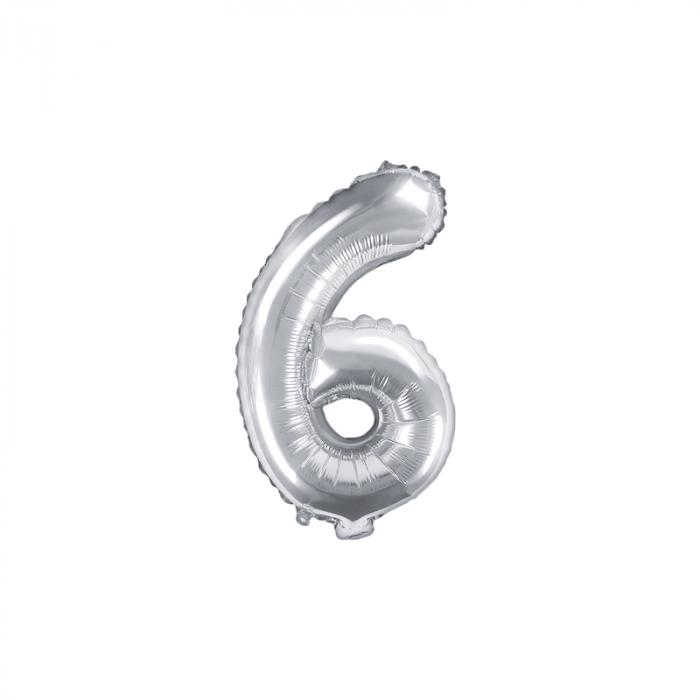 Balon Folie Cifra 6 Argintiu, 35 cm [0]