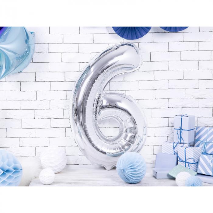 Balon Folie Cifra 6 Argintiu, 86 cm [1]