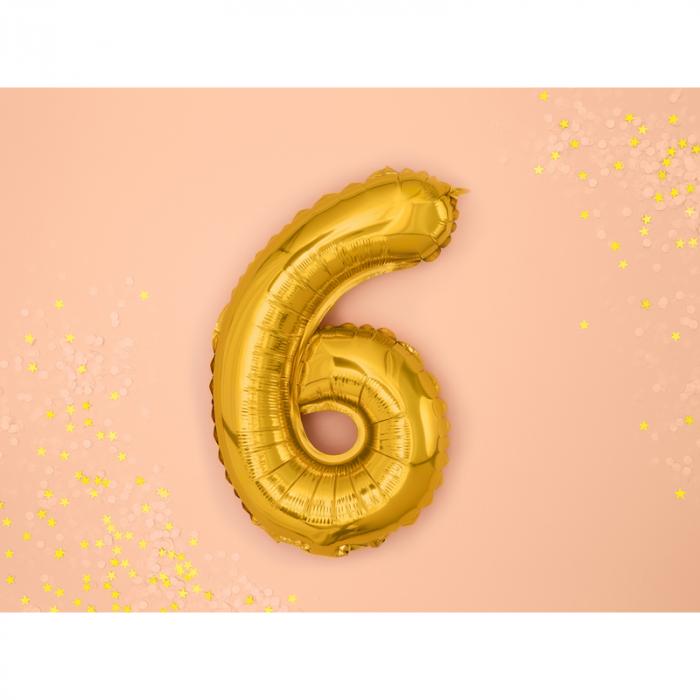 Balon Folie Cifra 6 Auriu, 35 cm 1