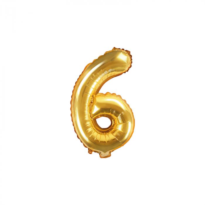 Balon Folie Cifra 6 Auriu, 35 cm [0]