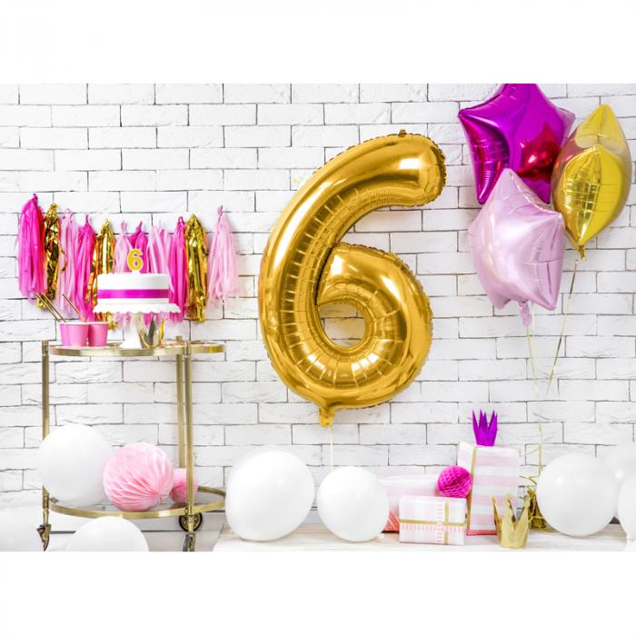 Balon Folie Cifra 6 Auriu, 86 cm [2]