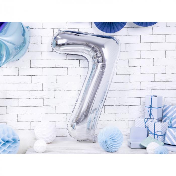 Balon Folie Cifra 7 Argintiu, 86 cm [1]