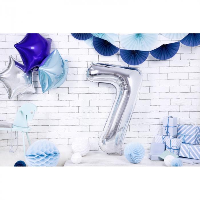 Balon Folie Cifra 7 Argintiu, 86 cm [2]