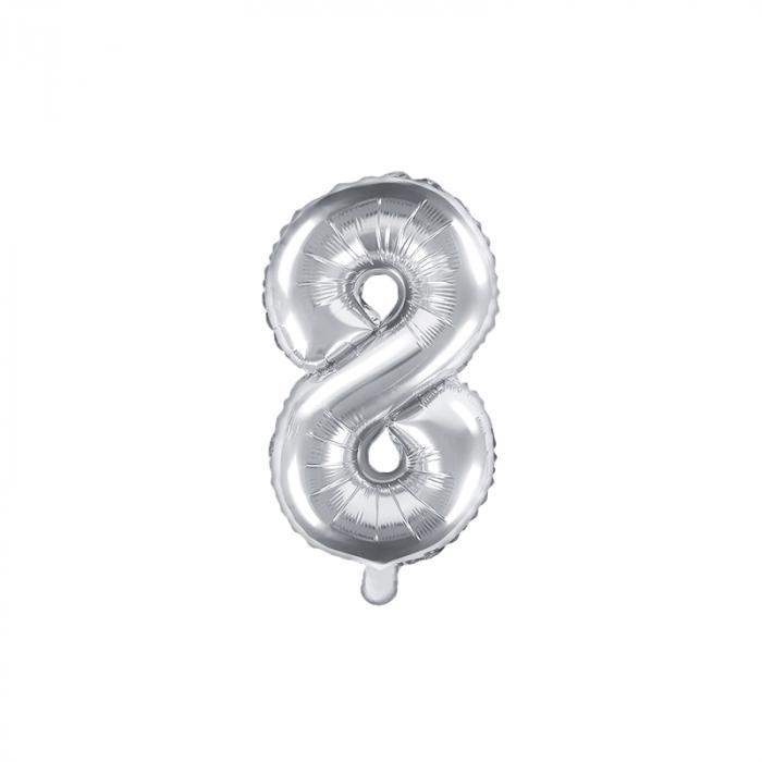 Balon Folie Cifra 8 Argintiu, 35 cm 0