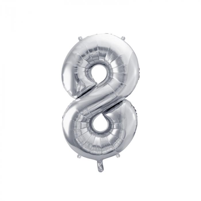 Balon Folie Cifra 8 Argintiu, 86 cm [0]