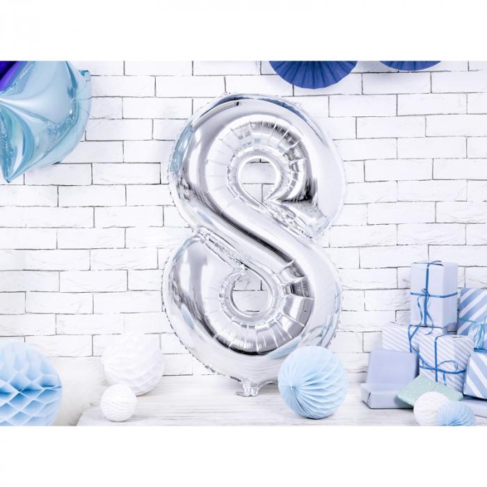 Balon Folie Cifra 8 Argintiu, 86 cm [1]
