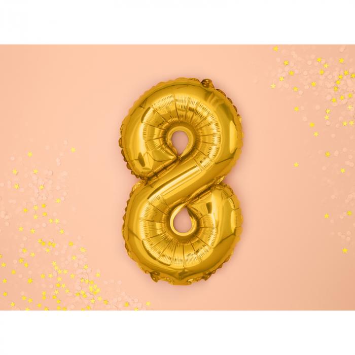 Balon Folie Cifra 8 Auriu, 35 cm 1