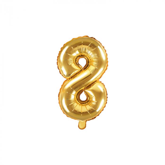Balon Folie Cifra 8 Auriu, 35 cm 0