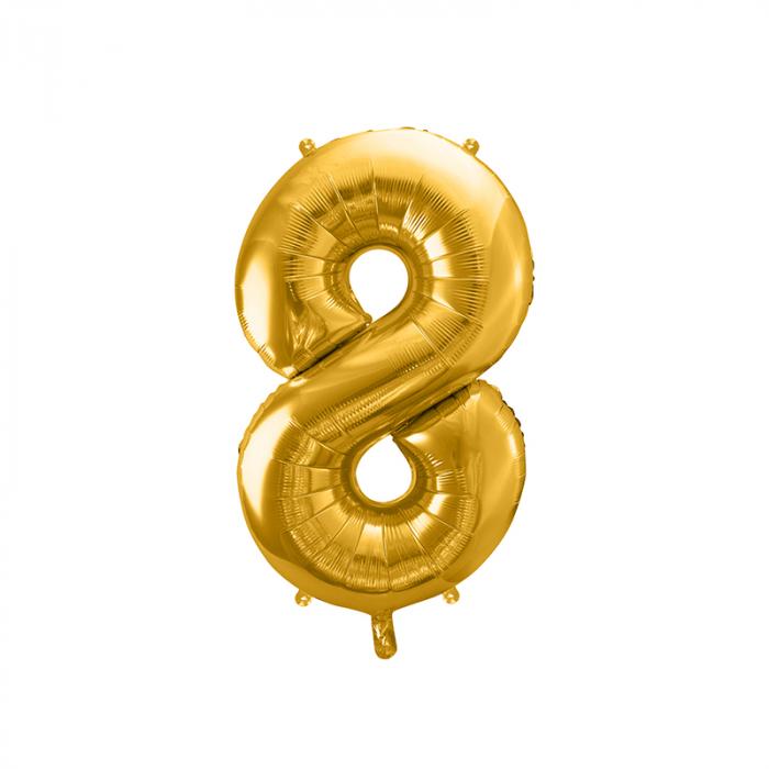 Balon Folie Cifra 8 Auriu, 86 cm [0]