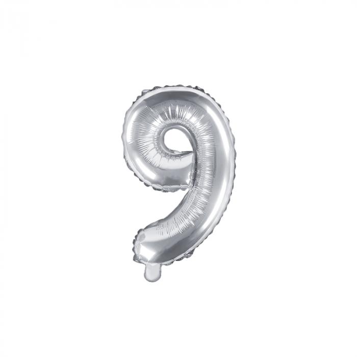 Balon Folie Cifra 9 Argintiu, 35 cm 0