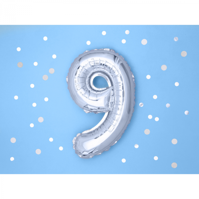 Balon Folie Cifra 9 Argintiu, 35 cm 1