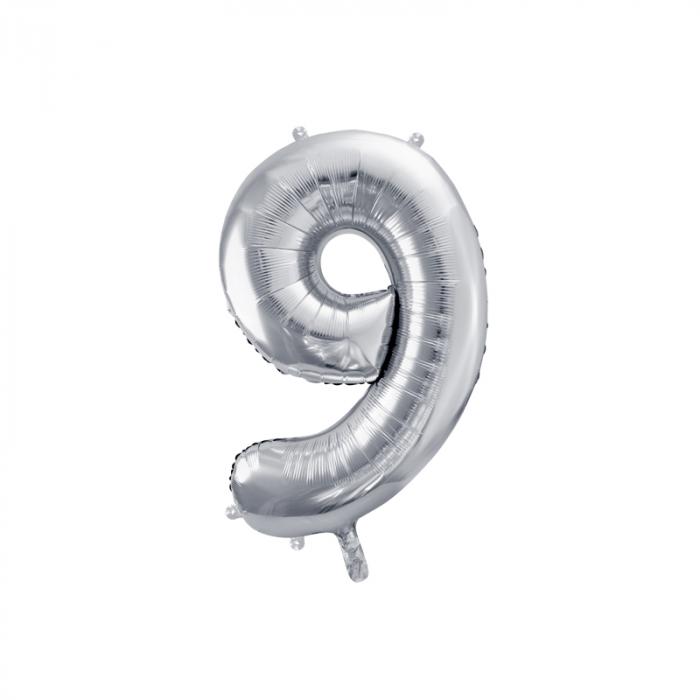 Balon Folie Cifra 9 Argintiu, 86 cm 0