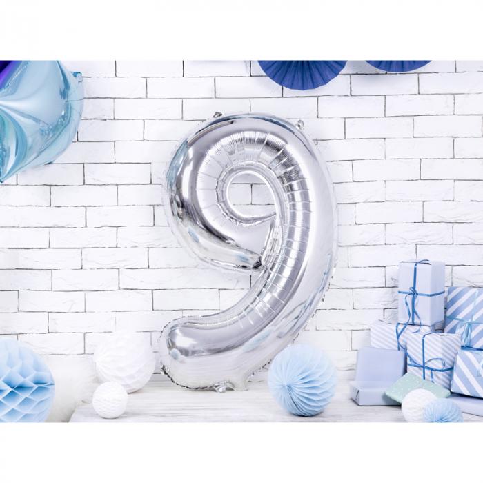 Balon Folie Cifra 9 Argintiu, 86 cm 1