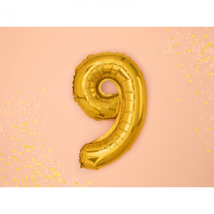 Balon Folie Cifra 9 Auriu, 35 cm [1]